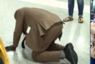 A căzut din picioare în mijlocul aeroportului. Apoi s-a ridicat și toți din jur au început să plângă
